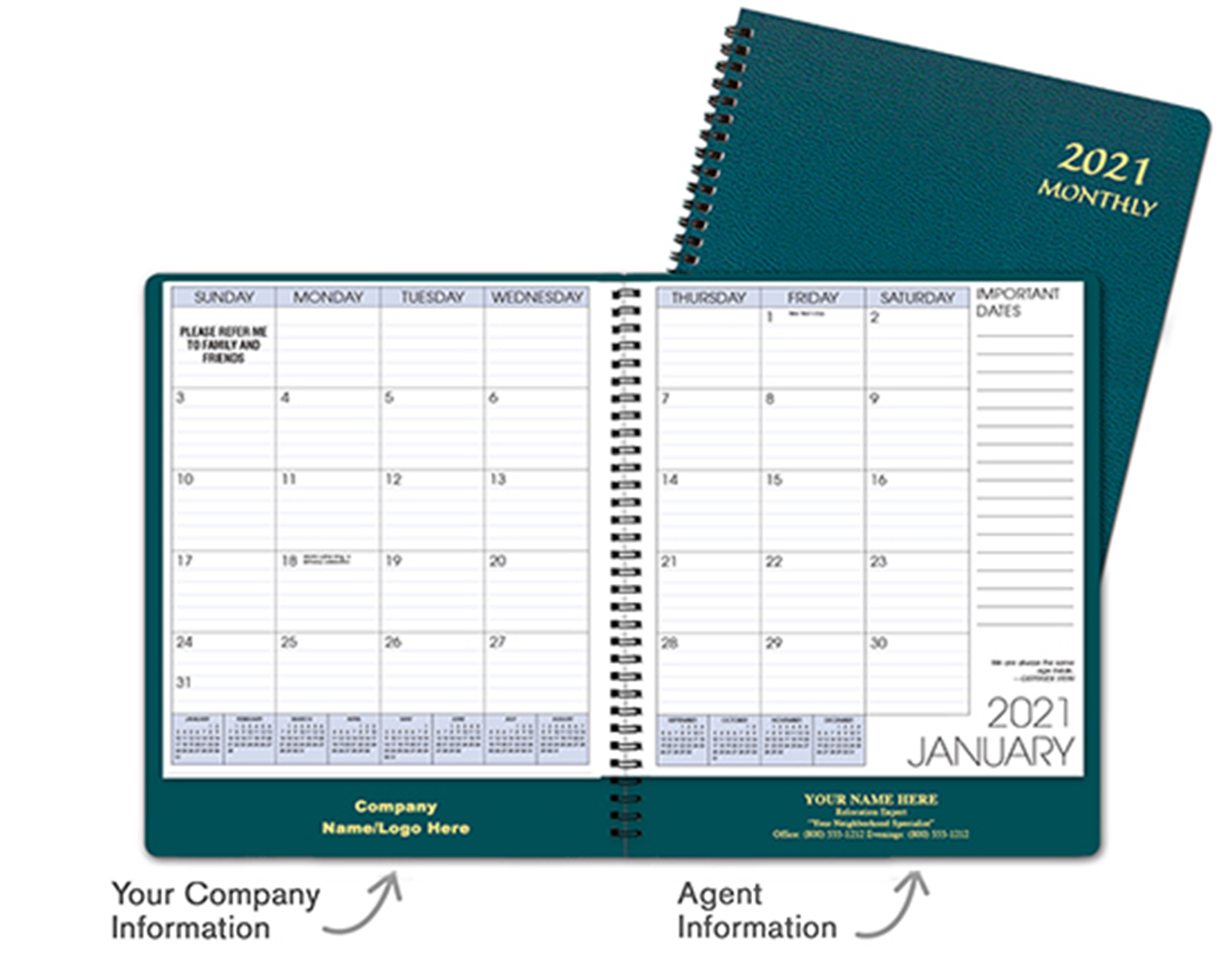 Teal Monthly Planner