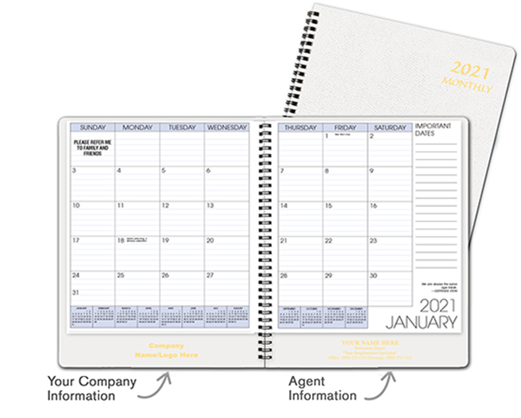 White Monthly Planner